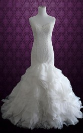 Mermaid Strapped Lace Organza Satin Dress With Ruffles