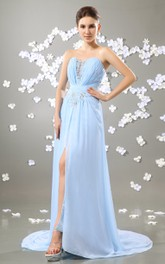 Alluring Sweetheart Sleeveless Style Dress With Slit And Crystal Detailing
