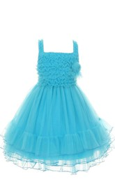 Sleeveless A-line Tiered Dress With Straps and Pleats