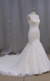 V-Neck Sleeveless Lace Mermaid Wedding Dress With Chapel Train