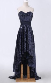 Sweetheart High Low Allover Sequins Sweep Train Dress