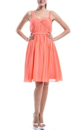 Knee-length Spaghetti Strapped Sweetheart Chiffon Dress