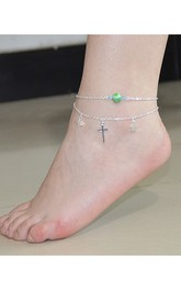 Double Cross Joker Orange Crystal Star Anklet Female Anklet