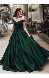 Ball Gown Off-the-shoulder Sleeveless Floor Length Lace Satin Dress