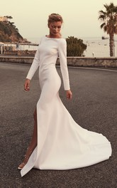 Sexy Satin Mermaid Bateau Long Sleeves Front Split Bridal Gown
