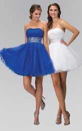 A-Line Short Strapless Sleeveless Tulle Lace-Up Dress With Beading And Ruffles