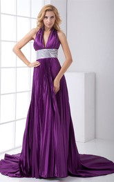 plunged sleeveless floor-length pleated dress with sequined waist