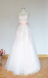 Simple Blush A Line Tulle Lace Wedding Dress