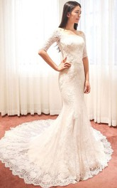 Off-the-shoulder Half Sleeve Mermaid Brush Train Lace Ivory Wedding Dress