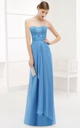 Sweetheart Side Drape Chiffon Long Prom Dress With Removable Wrap Top