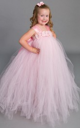 Empire Tulle Dress With Flower&Sash Ribbon