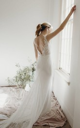Lace Sleeveless Elegant Sheath Plunging V-neck Bridal Gown With Deep V-back And Buttons