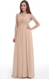 Floor-length V-neck Empire Chiffon Dress With Ruffles