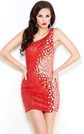 Sheath Short One-Shoulder Sleeveless Jersey Beading Beading Illusion Dress