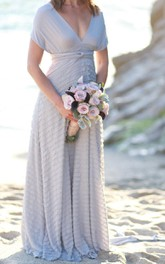 Ruffle Octopus Infinity Wrap Gown Nantucket Grey