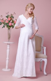 Allover Lace V-neck Floor Length Maternity Wedding Dress With 3 4 Sleeves