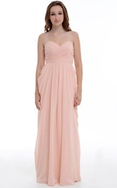 A-line Long Sweetheart Chiffon Dress With Ruffles