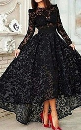 Elegant Jewel Long Sleeve Black Prom Dress With Lace