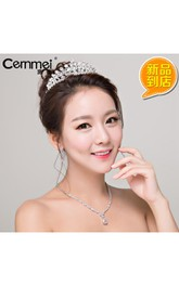 Bride Headdress Crown Korean Simple And Neat Little Mosaic Necklace Earrings Three Suit