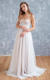 Straps Tulle Satin Floral Lace Wedding Dress
