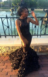Sexy Black Sleeveless Mermaid 2018 Prom Dress Floor Length Flowers Party Gowns