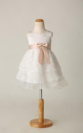 Cute Sleeveless Organza Dress With Flower Skirt