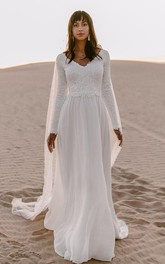 Bohemian Chiffon Lace V-neck A Line Long Sleeve Wedding Dress with Deep-V Back
