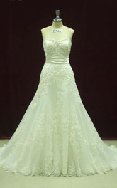 Gorgeous Strapless Lace Sweetheart Wedding Gown With Sash and Bow