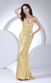 Sequined Sheath Floor-Length Dress with Corset Back