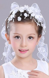 Beaded Hair Band Bow Headband Tulle Flower Girl Veil