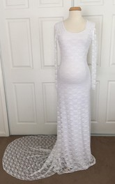Elegant Sheath Scoop Illusion Long Sleeve Lace Maternity Wedding Dress