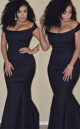 Sexy Black Mermaid 2018 Prom Dress Plus Size Off-the-shoulder
