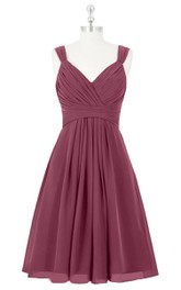 V-Neck A-Line Chiffon Sleeveless Dress With Ruching and Pleats