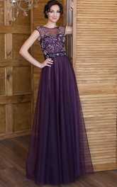 A-Line Floor-Length Bateau Short Sleeve Tulle Beading Pleats Lace-Up Dress