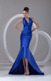 plunged high-low satin dress with brush train and ruched waist