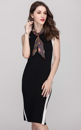 Black Jewel Neck Sheath Dress with Back Slit