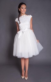 Short Knee Length A-Line Tulle Wedding Dress With Satin Sash