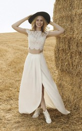 Front Split Short Sleeve Two-piece Wedding Dress With Lace Top And Chiffon Skirt