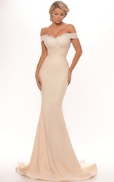 Trumpet Long Lace Off-The-Shoulder Jersey Prom Dress With Low-V Back And Brush Train