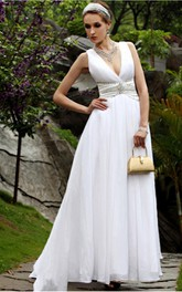 Elegant White A-line Floor-length V-neck Dress