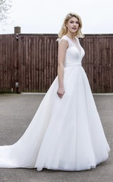 Tulle A-line Ballgown Wedding Dress With Illusion Lace V-neck And Back