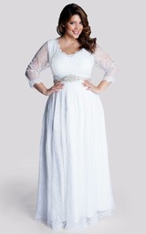 A-Line Floor-Length V-Neck Long Sleeve Lace Waist Jewellery Zipper Dress