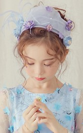 Floral Headpiece style Tulle Flower Girl Veil
