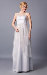 Brilliant Strapless Bateau Neck Layered Long Tulle Dress With Keyhole