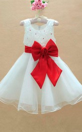 A-line Princess Scoop Sleeveless Floor-length Bowknot Organza Flower Girl Dresses