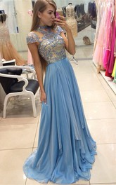 Delicate Beadings Chiffon A-line 2018 Prom Dress Cap Sleeve Sweep Train