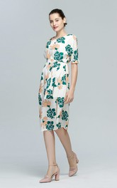 Flower Print Scoop Half Sleeve Midi Dress with Slit