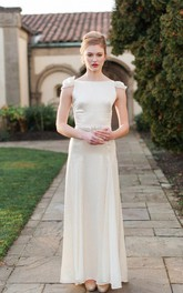 Bateau Neck Sheath Long Satin Wedding Dress With Sash And Cap Sleeve