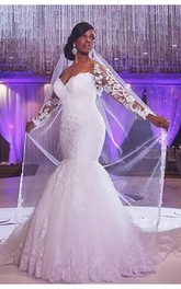 Glamorous Off-the-shoulder Long Sleeve Mermaid Wedding Dress With Appliques