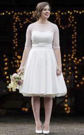 Vintage Tea Length Satin Wedding Dress With Dotted Tulle Bodice